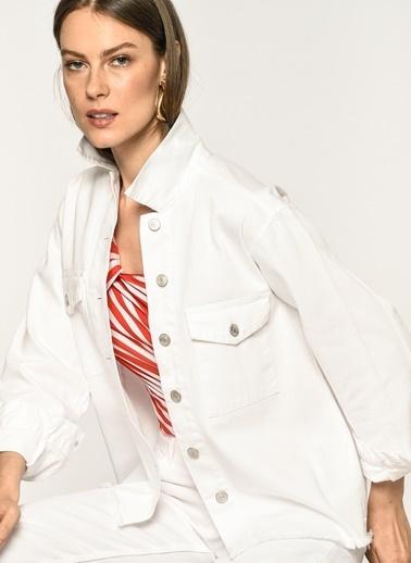 Loves You Çift Cep Soft Yıkama Denim Ceket Beyaz